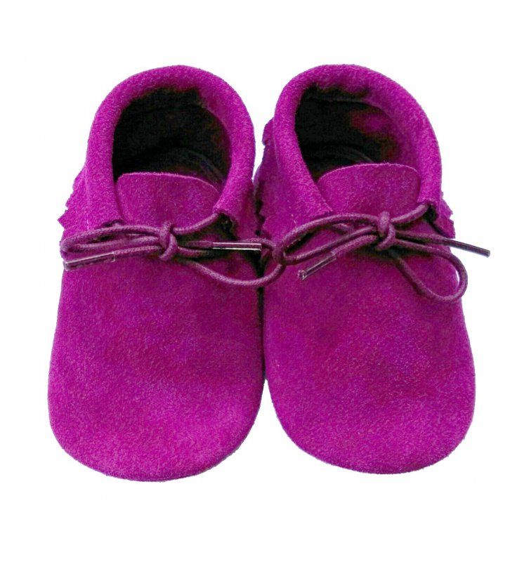 Chaussons cuir souple velours rose fuchsia Mocassin